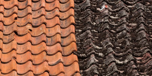 Terracotta Roof Tiles before and after cleaning